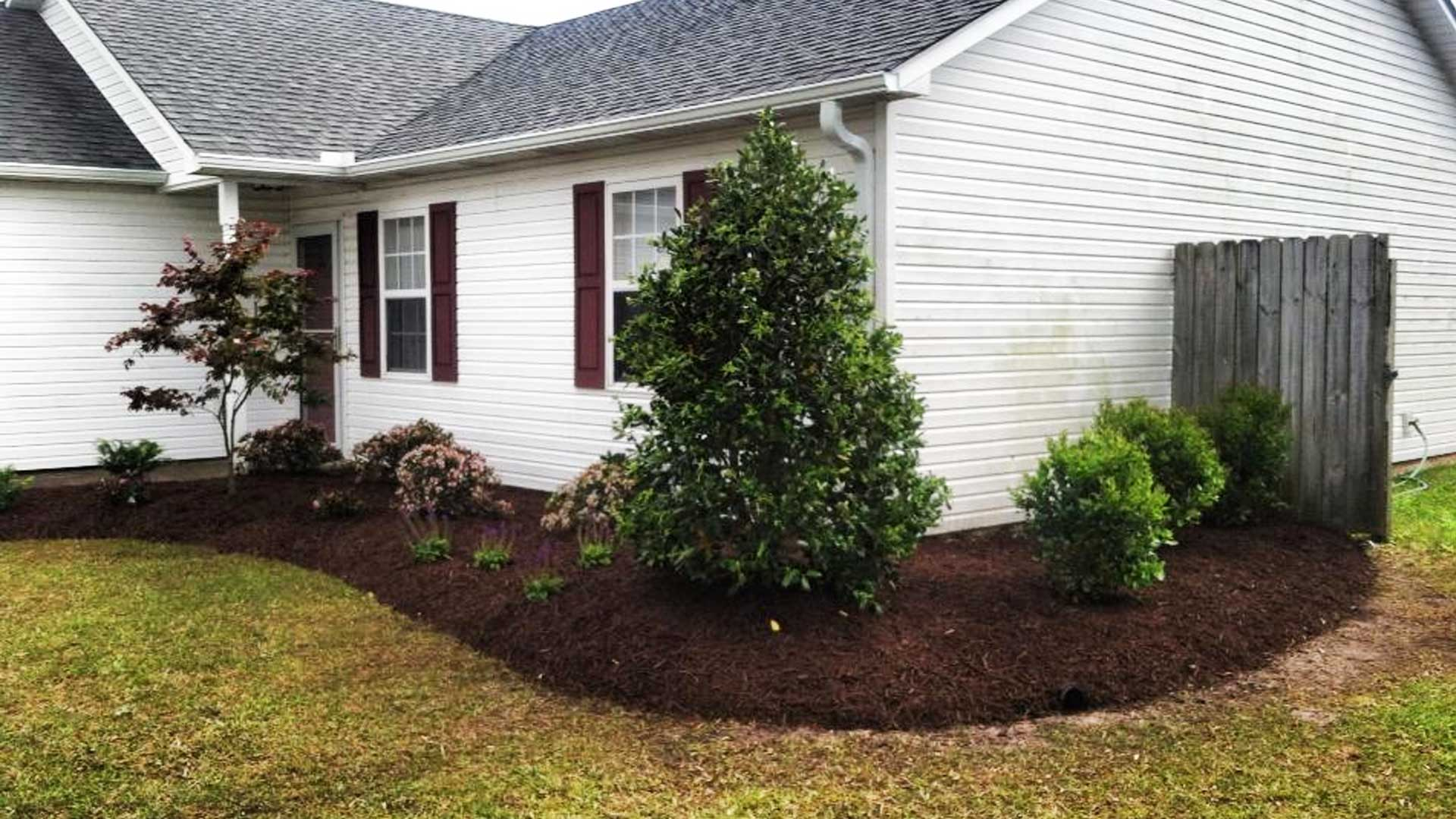 New landscape design and installation. We installed new plants, shrubs, small tree, & fresh mulch at a home in Newport, NC.