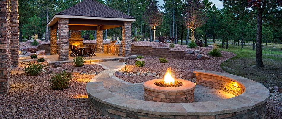 An outdoor fire pit that perfectly enhances its surrounding environment.