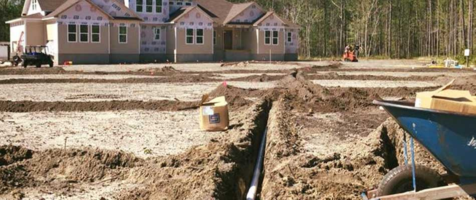 Irrigation system installation at a large home in Morehead City, NC.